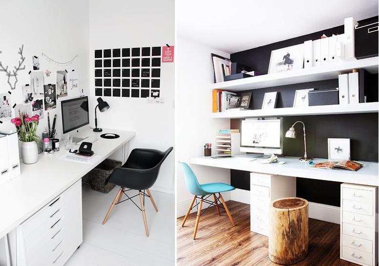 grand bureau blanc et noir