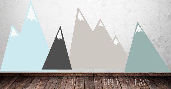etsy stickers montagnes gris bleu