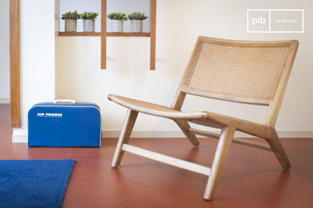 fauteuil bois chêne et cannage vintage minimaliste