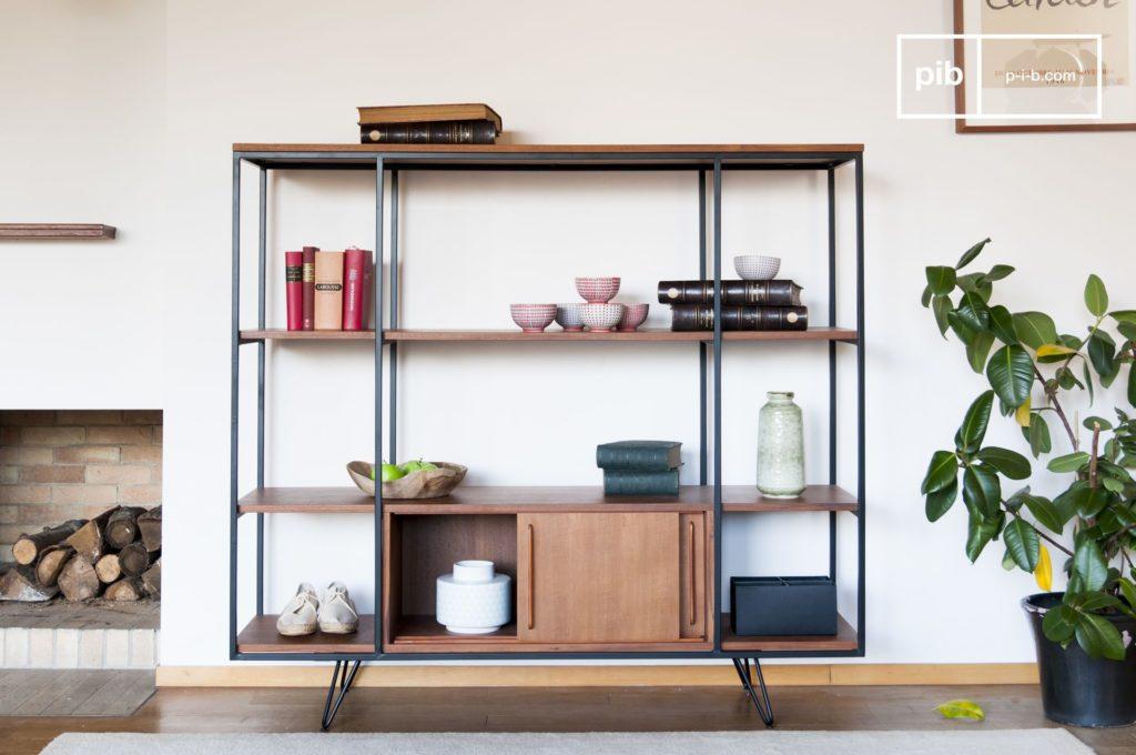 bibliothèque teck et métal vintage minimaliste