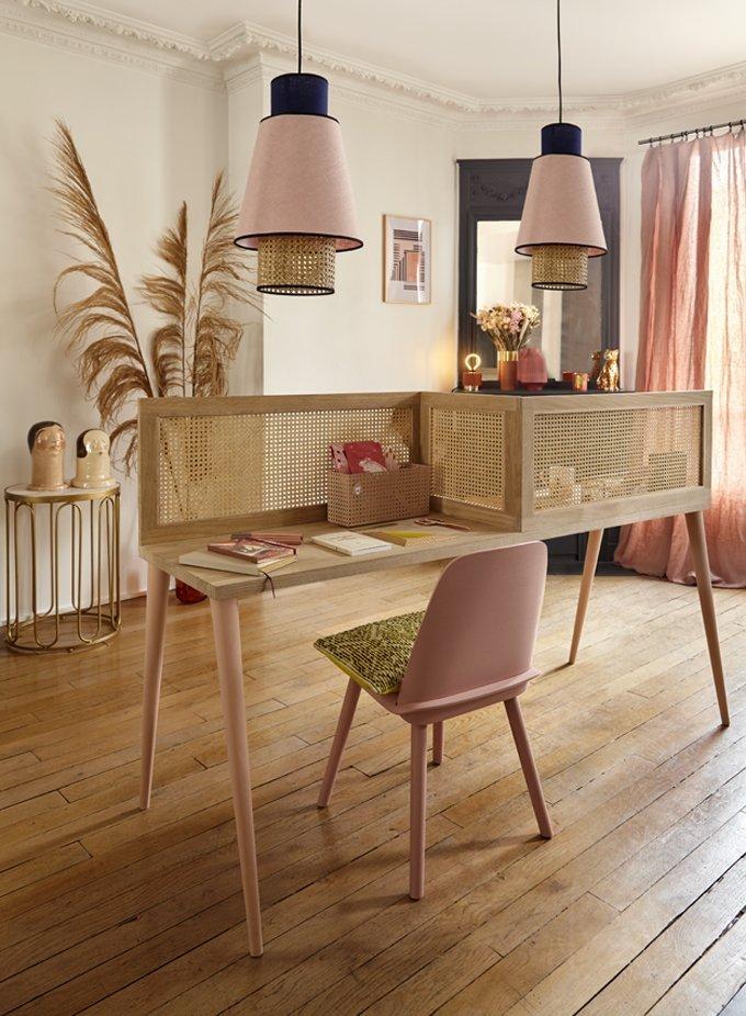 fabriquer bureau double enfant style scandinave bois et cannage