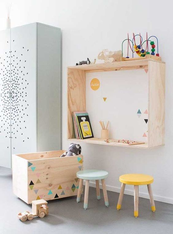 fabriquer bureau mural enfant