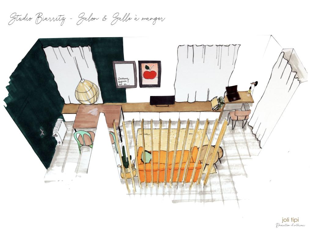 Créer un coin nuit dans un studio de vacances à Biarritz