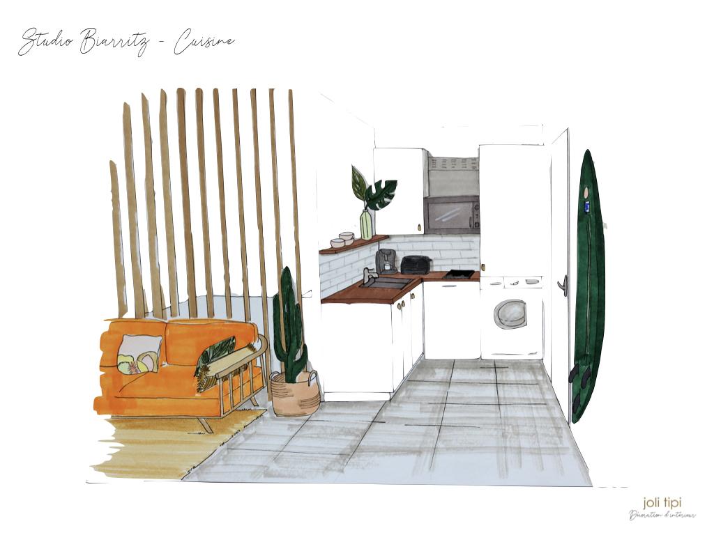 Une cuisine optimisée pour un studio de vacances